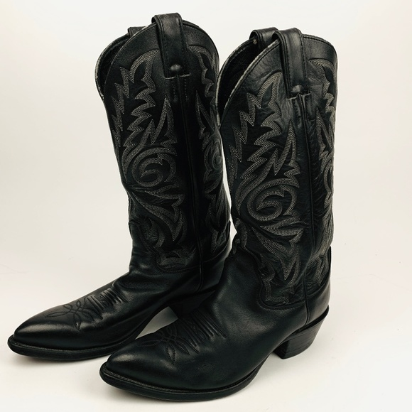 21b24c8c62d Justin Boots Black London Calf Rounded Toe Boots